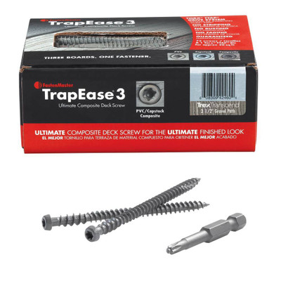TrapEase 3 Deck Screws for Composite, PVC and Capstock Decking - Box of 75