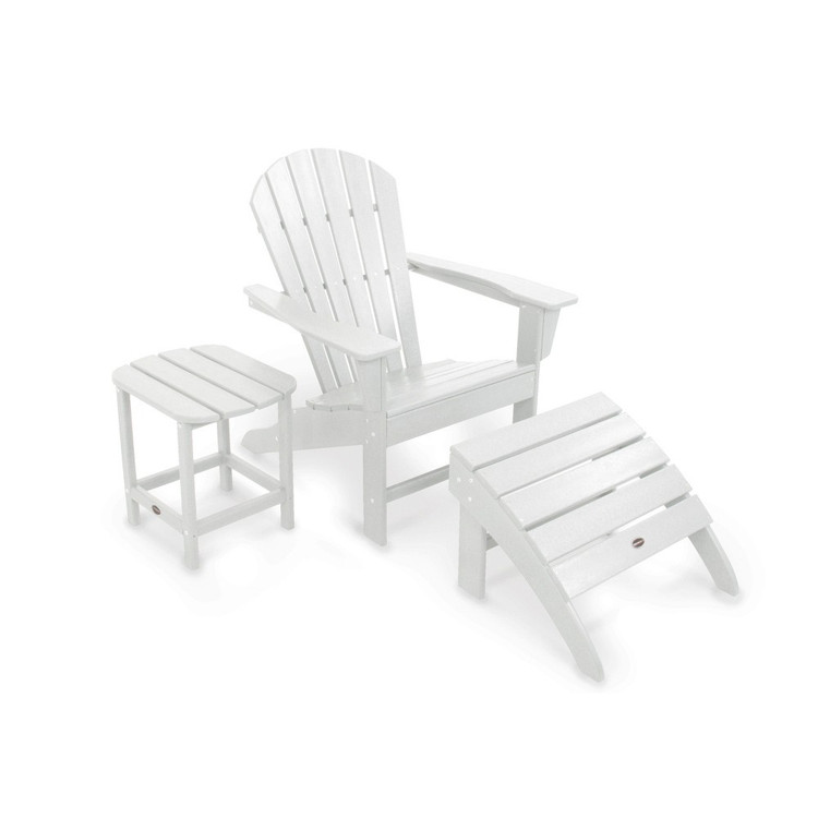Adirondack Coffee Table Set: South Beach White Adirondack 3 Set Chair Ottoman Side