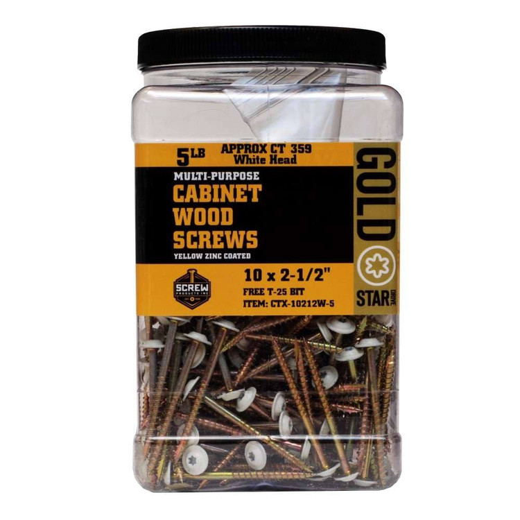 Gold Star 10 Cabinet Screws With White Head 5lb Jar